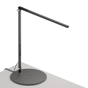 Z-Bar Metallic Black Warm Light LED Solo Desk Lamp with Wireless Charging Qi Base