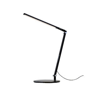 Z-Bar Metallic Black Warm Light LED Solo Mini Desk Lamp with Two-Piece Desk Clamp