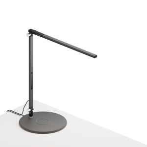 Z-Bar Metallic Black Warm Light LED Solo Mini Desk Lamp with Wireless Charging Qi Base