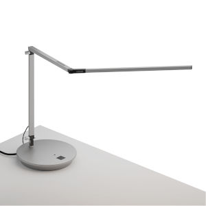 Z-Bar Silver LED Desk Lamp with Power Base