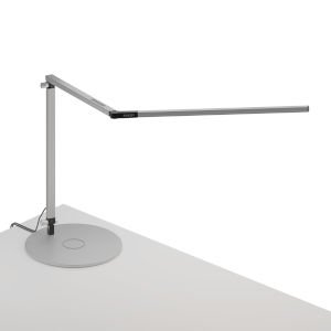 Z-Bar Silver LED Desk Lamp with Wireless Charging Qi Base
