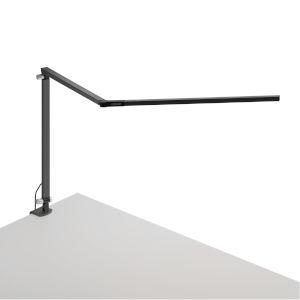 Z-Bar Metallic Black Warm Light LED Desk Lamp with One-Piece Desk Clamp