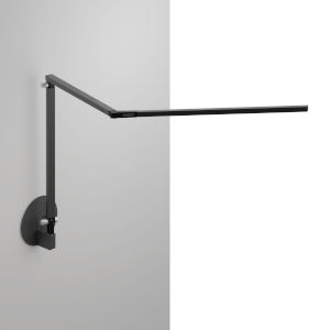 Z-Bar Metallic Black Warm Light LED Desk Lamp with Hardwire Wall Mount