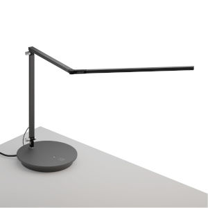 Z-Bar Metallic Black Warm Light LED Desk Lamp with Power Base