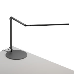 Z-Bar Metallic Black Warm Light LED Desk Lamp with Usb Base