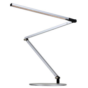 Z-Bar Silver Warm Light LED Desk Lamp with Two-Piece Desk Clamp