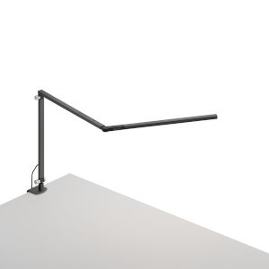 Z-Bar Metallic Black LED Mini Desk Lamp with One-Piece Desk Clamp