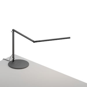Z-Bar Metallic Black LED Mini Desk Lamp with Wireless Charging Qi Base