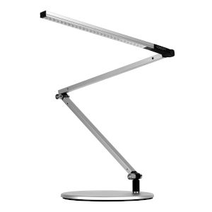 Z-Bar Silver LED Mini Desk Lamp with Two-Piece Desk Clamp