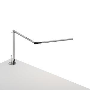 Z-Bar Silver LED Mini Desk Lamp with Grommet Mount