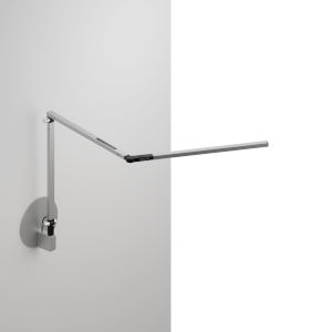 Z-Bar Silver LED Mini Desk Lamp with Hardwire Wall Mount