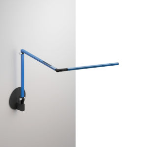 Z-Bar Blue LED Mini Desk Lamp with Metallic Black Hardwire Wall Mount