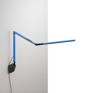 Z-Bar Blue LED Mini Desk Lamp with Metallic Black Wall Mount