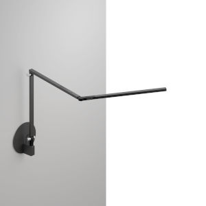 Z-Bar Metallic Black LED Mini Desk Lamp with Hardwire Wall Mount