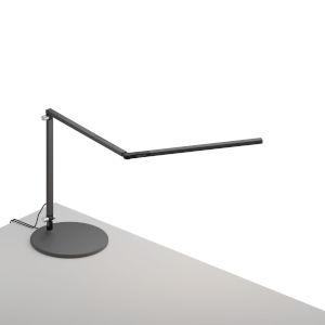 Z-Bar Metallic Black Warm Light LED Mini Desk Lamp with Usb Base