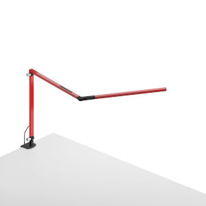 Z-Bar Red LED Desk Lamp with One-Piece Desk Clamp