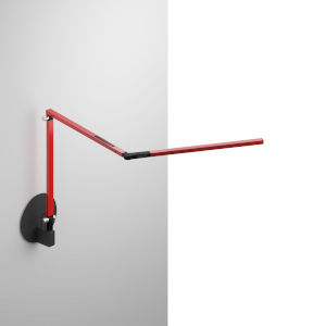 Z-Bar Red LED Mini Desk Lamp with Metallic Black Hardwire Wall Mount
