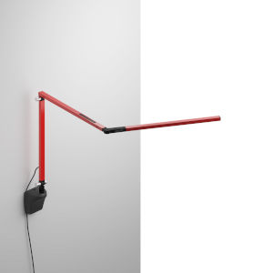 Z-Bar Red LED Mini Desk Lamp with Metallic Black Wall Mount