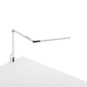 Z-Bar White LED Desk Lamp with One-Piece Desk Clamp