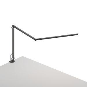 Z-Bar Metallic Black LED Slim Desk Lamp with One-Piece Desk Clamp