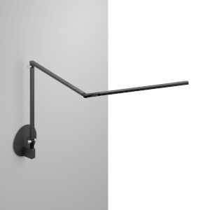 Z-Bar Metallic Black LED Slim Desk Lamp with Hardwire Wall Mount
