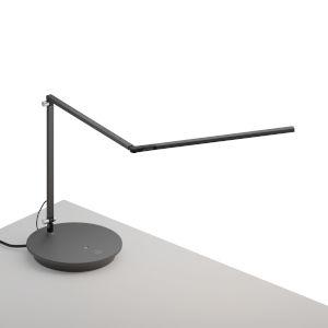 Z-Bar Metallic Black LED Slim Desk Lamp with Power Base