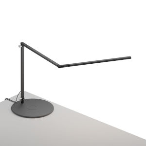 Z-Bar Metallic Black LED Slim Desk Lamp with Wireless Charging Qi Base