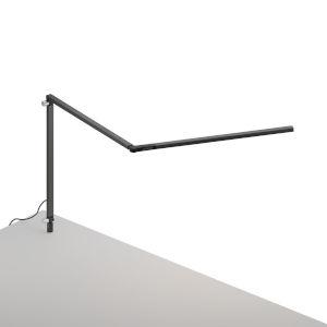Z-Bar Metallic Black LED Slim Desk Lamp with Through-Table Mount