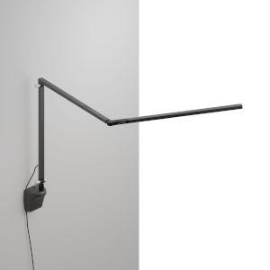 Z-Bar Metallic Black LED Slim Desk Lamp with Wall Mount