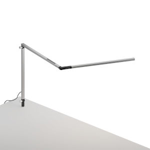 Z-Bar Silver LED Slim Desk Lamp with Through-Table Mount