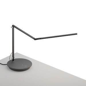 Z-Bar Metallic Black Warm Light LED Slim Desk Lamp with Power Base