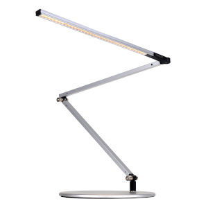 Z-Bar Silver Warm Light LED Slim Desk Lamp with Two-Piece Desk Clamp