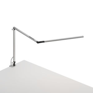 Z-Bar Silver Warm Light LED Slim Desk Lamp with One-Piece Desk Clamp