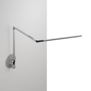 Z-Bar Silver Warm Light LED Slim Desk Lamp with Hardwire Wall Mount