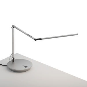 Z-Bar Silver Warm Light LED Slim Desk Lamp with Power Base