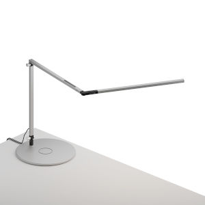 Z-Bar Silver Warm Light LED Slim Desk Lamp with Wireless Charging Qi Base