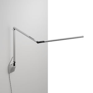 Z-Bar Silver Warm Light LED Slim Desk Lamp with Wall Mount