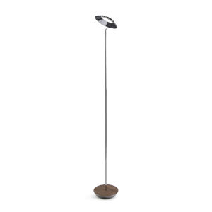 Royyo Chrome and Oiled Walnut LED Floor Lamp