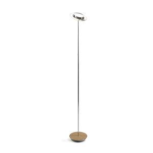 Royyo Chrome and White Oak LED Floor Lamp
