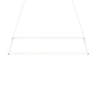 Z-Bar Matte White 14-Inch Soft Warm LED Rectangle Pendant