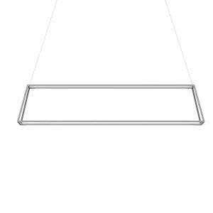 Z-Bar Silver 14-Inch Soft Warm LED Rectangle Pendant