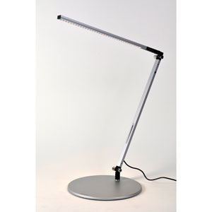 Z-Bar Solo Silver LED Desk Lamp with Base - Warm Light
