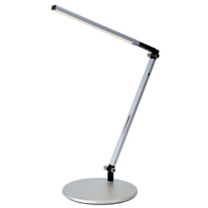 Z-Bar Solo Silver mini LED Desk Lamp with Base - Warm Light