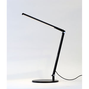 Z-Bar Solo Mini Metallic Black LED Desk Lamp with Warm Light