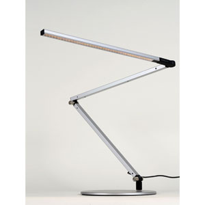 Z-Bar Silver LED Desk Lamp with Base - Warm Light