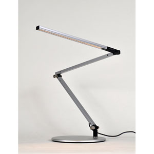 Z-Bar Mini Silver LED Desk Lamp with Base - Warm Light