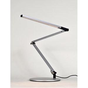 Z-Bar Mini Silver LED Desk Lamp with Base - Warm Light