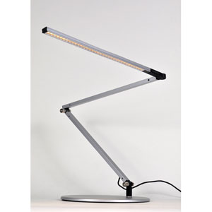 Z-Bar slim Silver LED Desk Lamp with Base - Cool Light