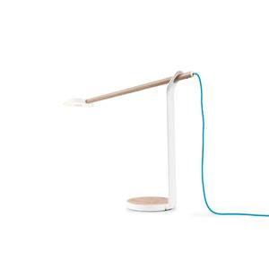 White Oak and Matte White Gravy LED Desk Lamp with Warm Light