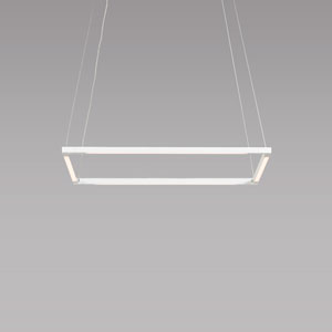 Z-Bar Pendant Matte White 18-Inch LED Damp Rated Square Pendant